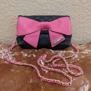 Betsey Johnson Chain Strap Pink Bow Crossbody